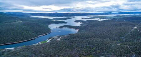 Beautiful Aerial Panorama of Lake Jindabyne and Snowy River, New South Wales, Australia