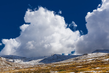 wales: Magnificent white clouds over snow capped Australian Alps
