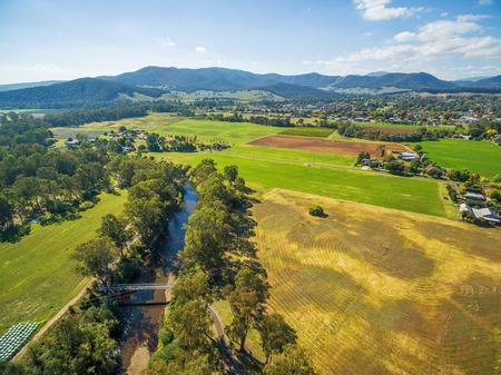 호주 시골의 공중보기입니다. 오번 스 리버, 머틀 포드, 빅토리아, 호주 스톡 콘텐츠