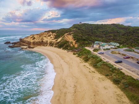 Aerial view of Sorrento Ocean Beach and Coppins Lookout at sunrise. Mornington Peninsula, Melbourne, Australia