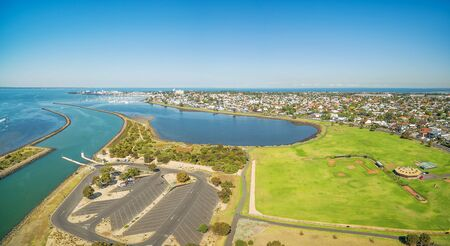 Aerial panorama of Greenwich Bay and reserve,  Williamstown Suburb at high noon. Melbourne, Victoria, Australia Stock Photo
