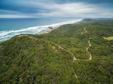 Aerial view of Mornington Peninsula Coastline and walking trail near Sorrento Ocean Beach and Coppins Lookout. Mornington Peninsula, Melbourne, Australia