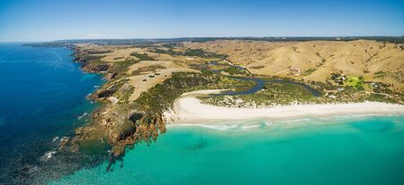 Kangaroo Island North Coast and Middle River Aerial panorama. Snelling beach, Kangaroo Island, South Australia Stock Photo