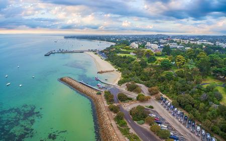 prestigious: Aerial panoramic landscape of Sorrento suburb coastline. Mornington Peninsula, Melbourne, Australia