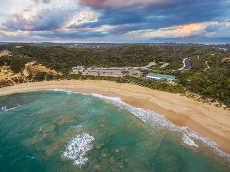 Aerial landscape of Sorrento Back beach and All Smiles wedding venue. Mornington Peninsula, Melbourne, Australia