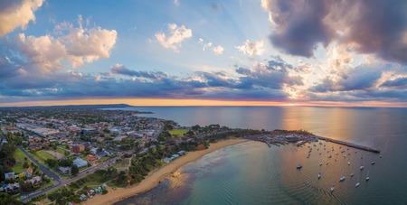 Aerial panorama of beautiful coastline in Australia at sunset. Melbourne, Victoria, Australia
