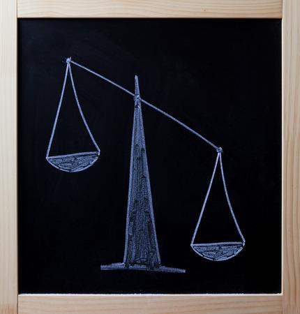 diagonal: Tipped scales drawn on blackboard.