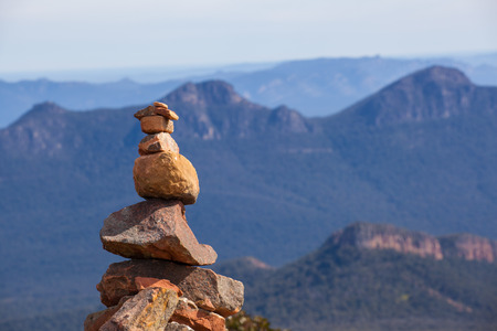 Stone cairn on top of Mount William, Grampians National Park, Victoria, Australia