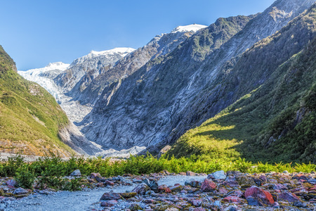 Beautiful Franz Jozef Glacier, South Island, New Zealand. Stock Photo