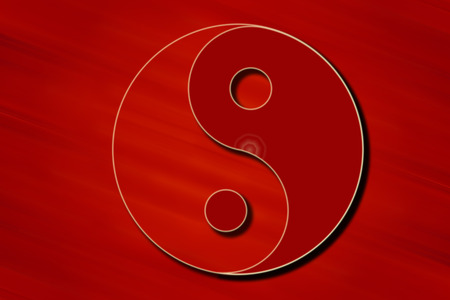 Stylized Yin Yang symbol in Red color.