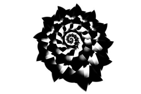 Seashell-like spiral swirled artwork in black and white Stock Photo