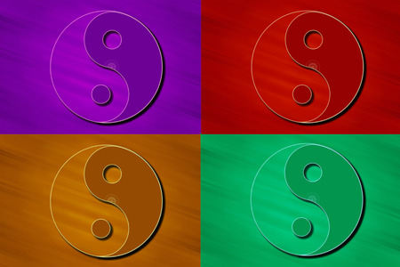 Stylized Yin Yang symbols in color. Stock Photo