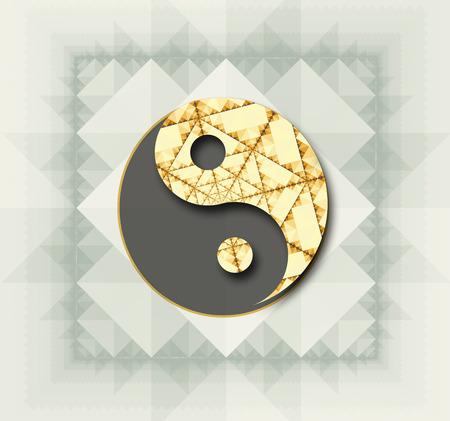 yin y yan: Símbolo estilizado de Yin Yang en color. Foto de archivo