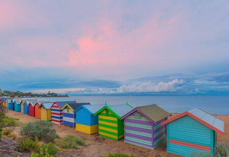 st kilda: Colorful Brighton bathing houses at sunrise, Melbourne, Victoria, Australia