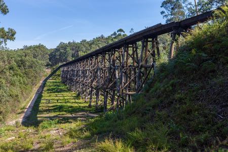 The Stony Creek Vintage Trestle Bridge. Old railroad bridge, Victoria, Australia Stock Photo