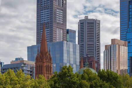 Closeup view of high rise office buildings and skyscrapers in Melbourne Stock Photo