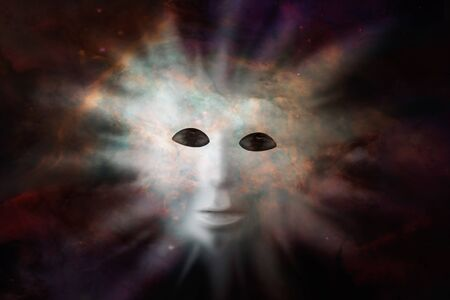 Human face mask protruding through fabric of space - extraterrestrial life discovery concept. Elements of this image were furnished by NASA Stock Photo