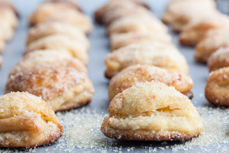 Cottage cheese cookies sprinkled with sugar. Shallow depth of field Stock Photo - 79569089