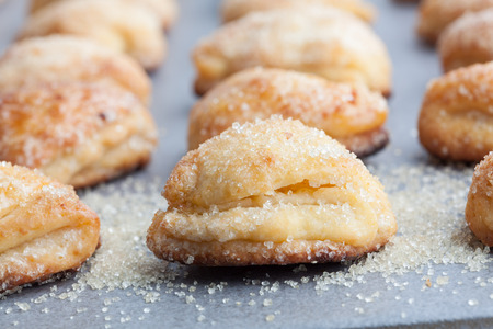 Cottage cheese cookies sprinkled with sugar. Shallow depth of field