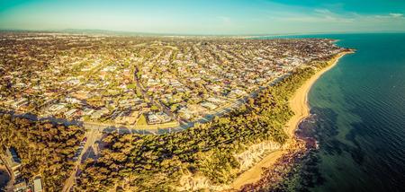 Aerial panorama of Black Rock suburb in Melbourne at sunset. Port Phillip Bay coastline, Victoria, Australia Stock Photo