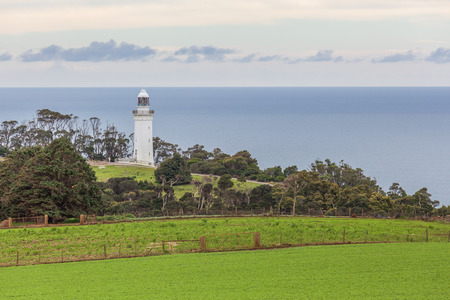 Table Cape Lighthouse overlooking the ocean. Tasmania, Australia Banco de Imagens