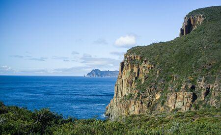geological formation: Rugged cliffs of Cape Hauy on bright sunny day. Tasman National Park, Tasmania, Australia