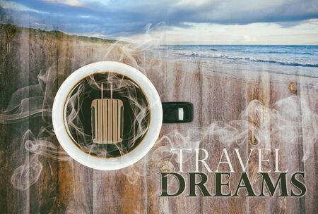Dreaming of travel over hot cup of coffee concept - vintage film look composite image. Stock Photo