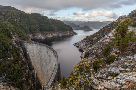Gordon Dam and lake. Southwest, Tasmania, Australia