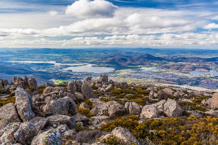Uitzicht op Hobart uit de berg Wellington Lookout. Tasmanië, Australië Stockfoto