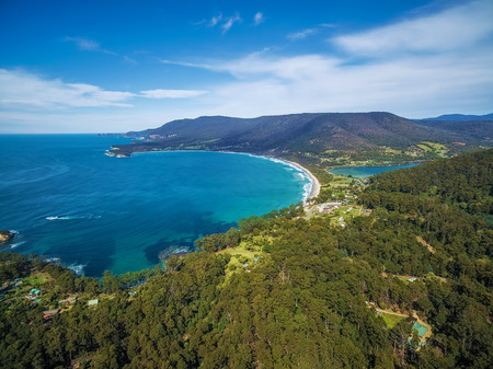 Aerial view of Eaglehawk Neck, East Coast, Tasmania, Australia Stok Fotoğraf