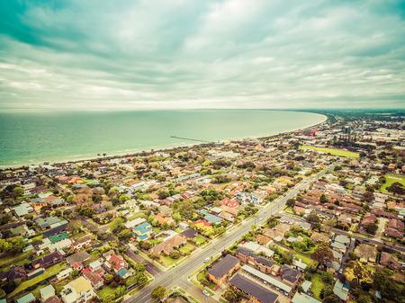 Aerial view of Frankston suburb nested on the Mornington Peninsula. Melbourne, Victoria, Australia