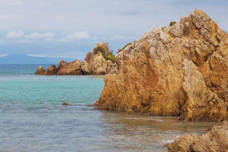 Limestone rocks outcrops at Walkerville South Beach, Victoria, Australia Stock Photo