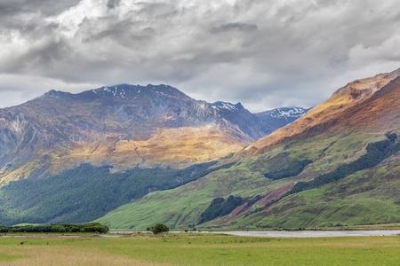 Mount Aspiring National Park, Matukituki River and beautiful hills