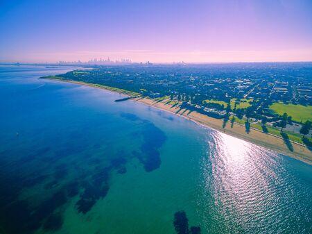 Aerial view of beautiful beaches and coastline in Melbourne, Australia