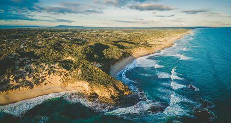 Aerial panorama of beautiful ocean coastline in Melbourne, Australia