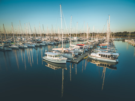 Closeup view of moored sailboats at marina in Melbourne, Victoria, Australia
