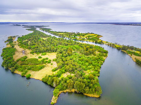 Aerial view of Silt Jetties at Gippsland Lakes Reserve, Victoria, Australia