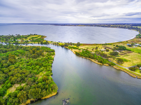Aerial view of Jones Bay at Gippsland Lakes Reserve, Victoria, Australia. Typical Australian Landscape