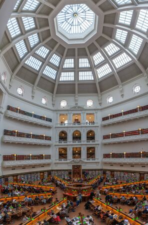 Melbourne, Australia - July 29, 2017: State Library of Victoria reading room filled with people