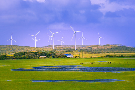 Rural area in australia with pastures and wind turbines. Country life and sustainable energy concept