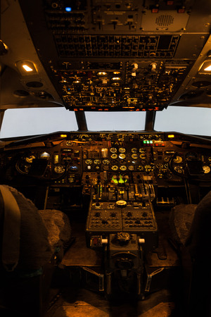 Old commercial aircraft cockpit
