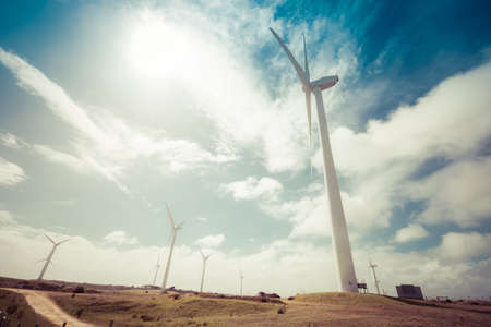 Wind farm in Richmond, Australia on a hot spring day