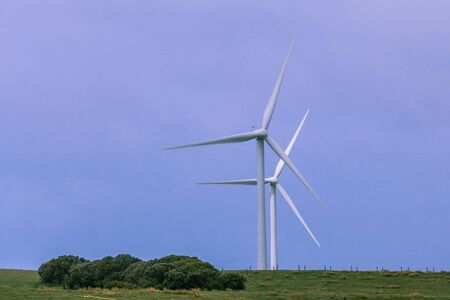 Two wind turbines built in rural area, Australia