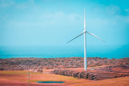 Tall wind turbine standing in a meadow overlooking the ocean with copy space