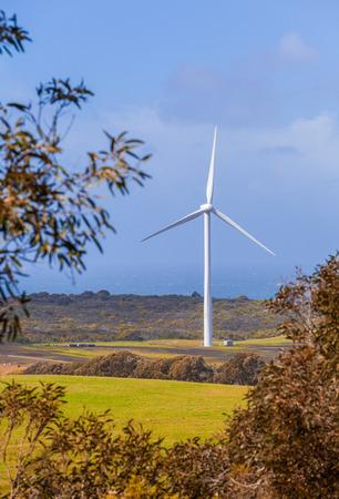 Tall wind turbine in rural area - Victoria, Australia Stock Photo