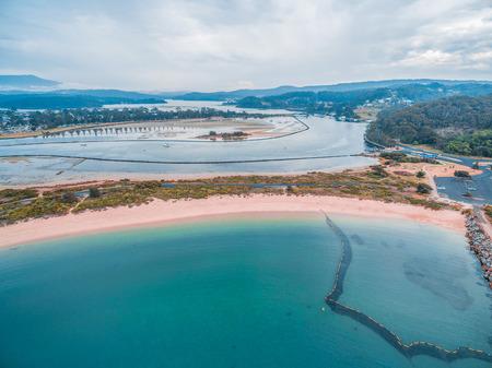Aerial view of coastline near Narooma at dusk, NSW, Australia Stock Photo