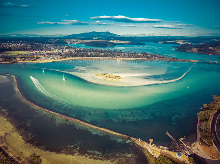 Aerial view of shallow ocean water. Narooma, NSW, Australia