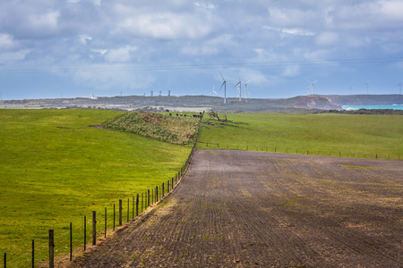 Agricultural fields with wind farm in the background. Portland, Victoria, Australia Stock Photo