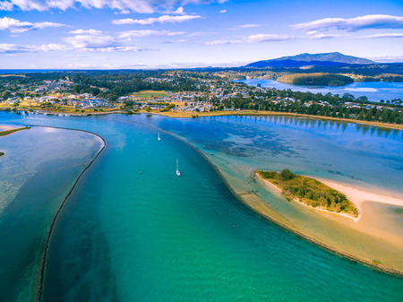 Aerial view of boats moored near Narooma, NSW, Australia