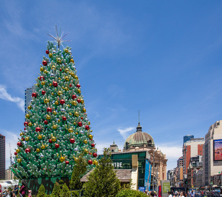 Melbourne, Australia - December 16, 2017: Tall beautiful Christmas tree at Federation Square